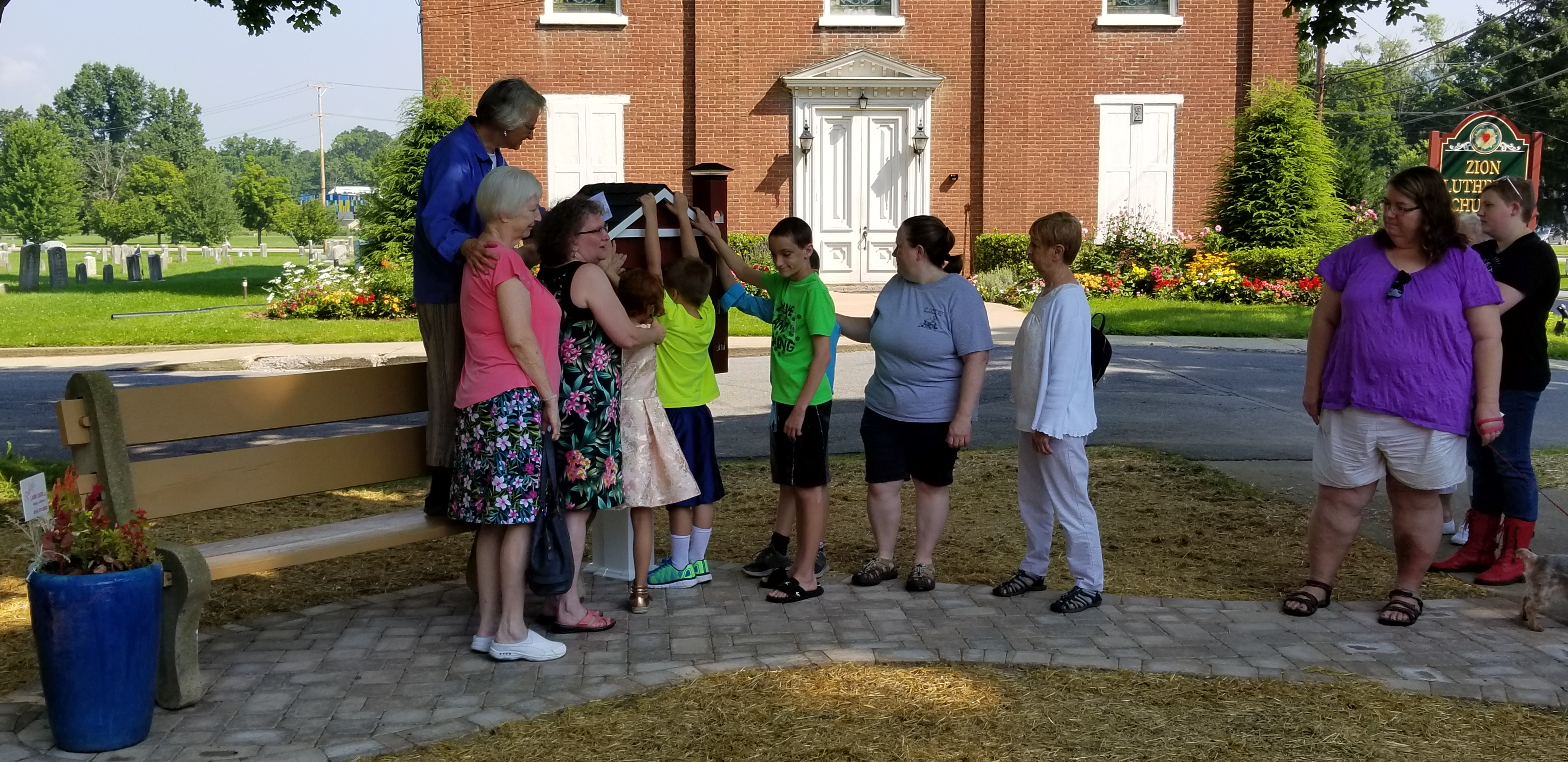 Blessing the new Free Little Library
